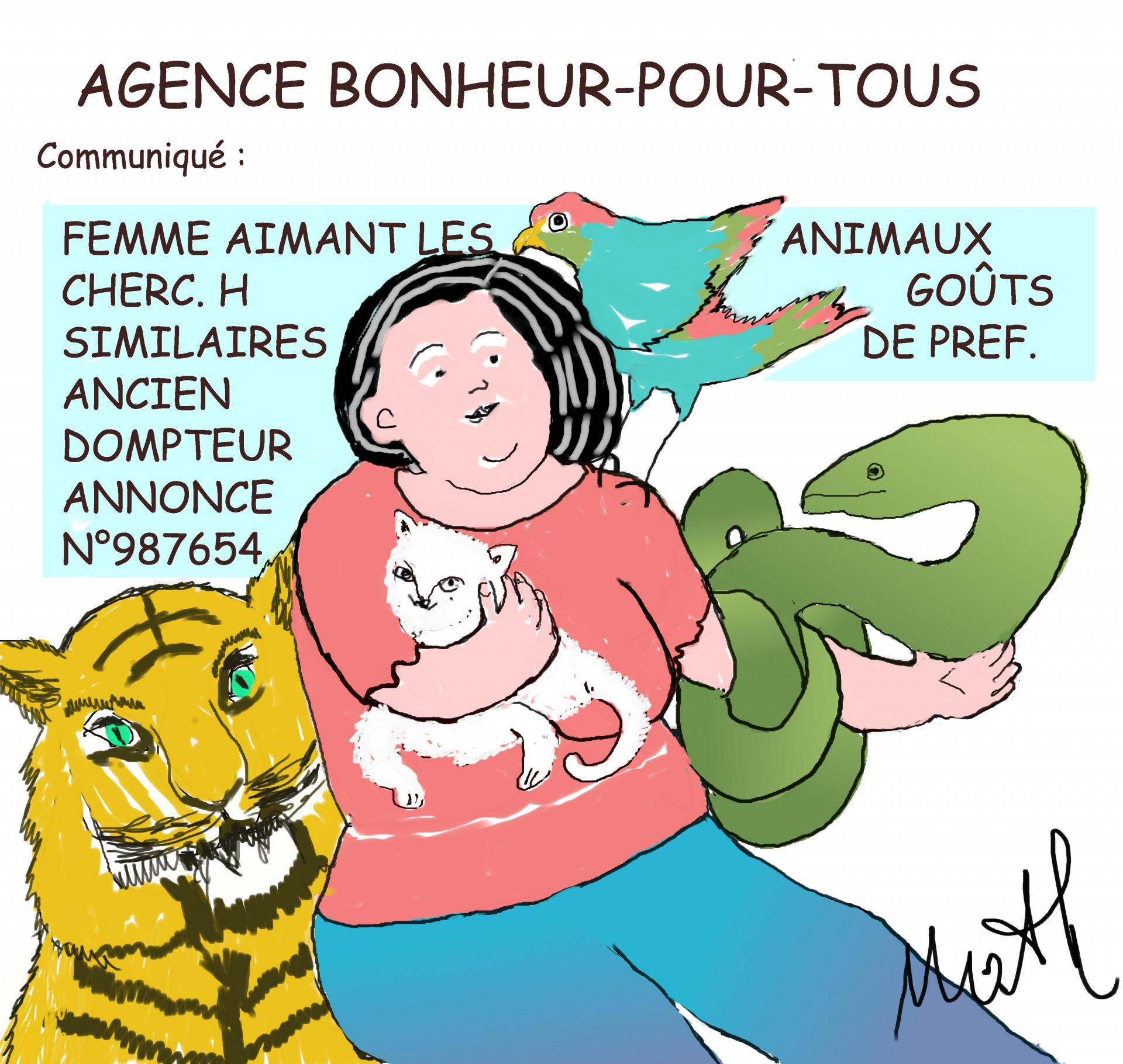 Bd femme aimant animaux